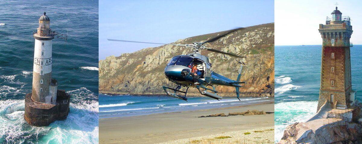 baptême hélicoptère vue sur la mer finistère sud