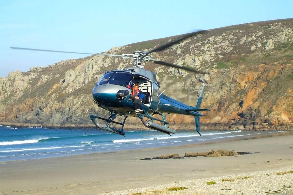 hélicoptère hôtel de la baie des trépassés